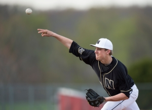 Lincoln-Way North's Jake McLaughlin pitches against Lincoln-Way Central.