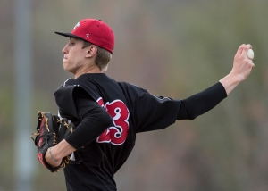 Lincoln-Way Central's Trevor Newton pitches against Lincoln-Way North.