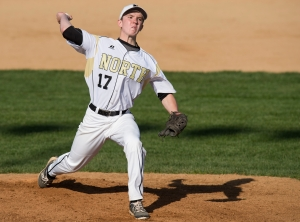 Lincoln-Way North's James Nebelski pitches against Thornwood.