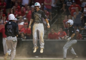 June 12, 2016: Providence's Mike Madej (10) celebrates a run during the IHSA 4A State Championship Game against Mundelein hosted at Silver Cross Field in Joliet.