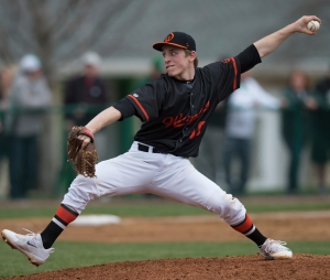 March 31, 2016: Lincoln-Way West's Connor Lowman pitches during the game hosted at Providence.