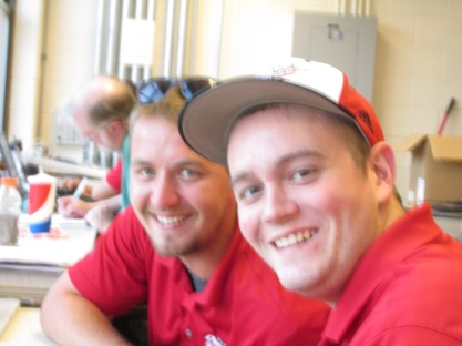 Evan Gersonde, left, and Aaron Graff working hard.